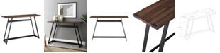 Walker Edison 46 inch Metal Wrap Entry Table in Dark Walnut