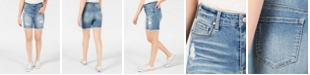 Celebrity Pink Juniors' Ripped Denim Bermuda Shorts