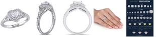Macy's Certified Diamond (1 ct. t.w.) Heart-Shape Double Halo Engagement Ring in 14k White Gold