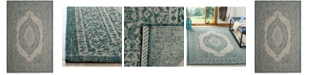 "Safavieh Courtyard Light Gray and Teal 5'3"" x 7'7"" Sisal Weave Area Rug"