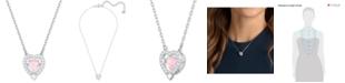 "Swarovski Silver-Tone Crystal 3D Cage Heart-Shape Pendant Necklace, 14-4/5"" + 4"" extender"