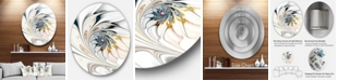 """Design Art Designart 'White Stained Glass Floral Art' Large Floral Metal Circle Wall Art - 23"""" x 23"""""""