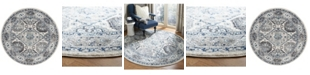 "Safavieh Madison Light Gray and Blue 6'7"" x 6'7"" Round Area Rug"