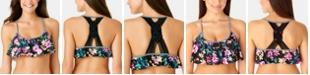 California Waves Juniors' Burgandy Wildflower Printed Flounce Bikini Top, Available in D/DD, Created for Macy's