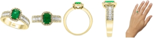 EFFY Collection EFFY® Diamond (5/8 ct. t.w.) & Emerald (9/10 ct. t.w.) Ring in 14k Yellow Gold