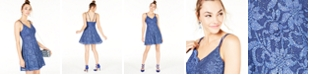 Teeze Me Juniors' Metallic Lace Fit & Flare Dress