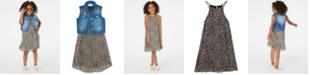 Rare Editions Toddler Girls 2-Pc. Leopard-Print Shift Dress & Denim Vest Set