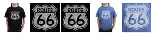 LA Pop Art Big Boy's Word Art T-Shirt - Cities Along The Legendary Route 66