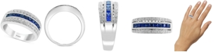 EFFY Collection EFFY® Sapphire (3/4 ct. t.w.) & Diamond (1/10 ct. t.w.) Statement Ring in 14k White Gold