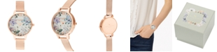 Olivia Burton Women's Bejeweled Florals Rose Gold-Tone Stainless Steel Mesh Bracelet Watch 34mm