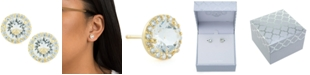 Giani Bernini Clear Color Swarovski Crystal Round Halo Stud Earrings Set In 14k Gold Over Sterling Silver