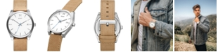 MVMT Men's Element Alkali Tan Leather Strap Watch 43mm