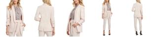 DKNY Petite Shawl-Collar Ruched-Sleeve Blazer