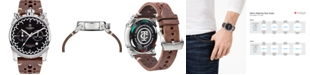 CT Scuderia Men's Swiss Chronograph Check Flag Brown Leather Strap Watch 44mm