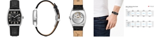 Bulova LIMITED EDITION Men's Swiss Automatic Joseph Bulova Black Leather Strap Watch 33x33.5mm
