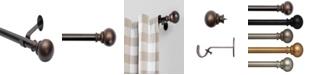 "Elrene Cordelia 28""-48"" Window Drapery Single Curtain Rod with Globe Ball Finial"