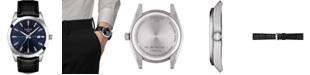 Tissot Men's Swiss Gentleman Black Leather Strap Watch 40mm