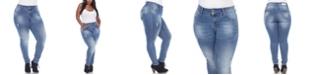 White Mark Women's Plus Size Paint Effect Light Blue Denim Jeans