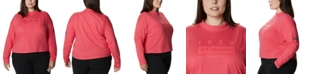 Columbia Plus Size Cotton Lodge Mock-Neck Logo-Graphic T-Shirt