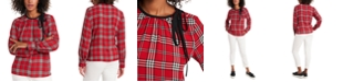 Riley & Rae Billie Tie-Neck Plaid Blouse, Created for Macy's
