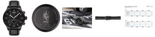 Tissot Men's Swiss Chronograph Chrono XL NBA San Antonio Spurs Black Leather Strap Watch 45mm