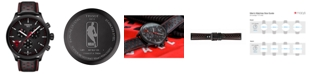 Tissot Men's Swiss Chronograph Chrono XL NBA Chicago Bulls Black Leather Strap Watch 45mm