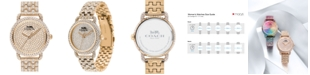 COACH Women's Delancey Carnation Gold-Tone Pavé Bracelet Watch 36mm