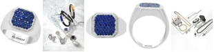 EFFY Collection EFFY® Men's Sapphire (1-1/5 ct. t.w.) & Diamond (1/6 ct. t.w.) Ring in Sterling Silver
