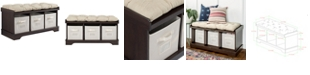 """Walker Edison 42"""" Wood Storage Bench with Totes and Cushion - Espresso"""