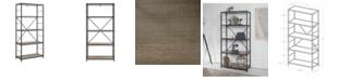 "Walker Edison 63"" Rustic Metal and Wood Media Bookshelf - Driftwood"
