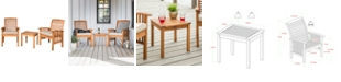 Walker Edison Outdoor Classic Acacia Wood Patio Chairs and Side Table - Brown