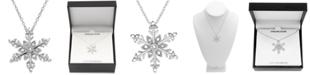 "Marsala Diamond Snowflake 18"" Pendant Necklace (1/10 ct. t.w.) in Sterling Silver"