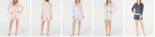 Charter Club Satin Long-Sleeve Notch Collar Top & Pajama Shorts Sleep Separates, Created for Macy's