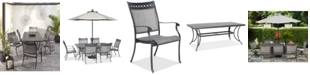 """Furniture Vintage II Outdoor Aluminum 7-Pc. Dining Set (72"""" x 38"""" Dining Table & 6 Dining Chairs), Created for Macy's"""