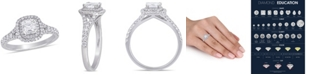Macy's Certified Diamond (1-1/5 ct. t.w.) Asscher-Shape Double Halo Split Shank Engagement Ring in 14k White Gold
