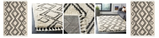 "Safavieh Moroccan Fringe Shag Cream and Charcoal 5'1"" X 7'6"" Area Rug"