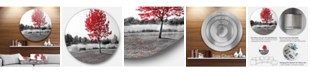 "Design Art Designart 'Red Tree Over Park Bench' Landscape Round Circle Metal Wall Art - 23"" x 23"""