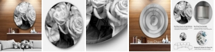 """Design Art Designart 'Bunch Of Roses Black And White' Ultra Vibrant Floral Metal Circle Wall Art - 23"""" x 23"""""""