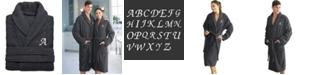 Linum Home 100% Turkish Cotton Personalized Unisex Herringbone Bath Robe - Dark Gray