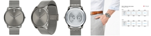 Movado Men's Swiss Bold Gray Ion-Plated Stainless Steel Mesh Bracelet Watch 42mm