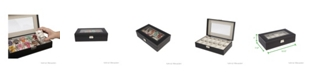 Mind Reader Watch Box Organizer Case, Fits 12 Watches, Mens Jewelry Display Drawer Storage, PU Leather