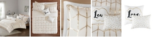 JLA Home Intelligent Design Raina King/California King 5 Piece Metallic Printed Duvet Cover Set