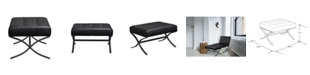 Lifestyle Solutions Ottoman With Metal Frame and Bonded Leather Upholster