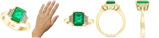 EFFY Collection EFFY® Emerald (2-1/5 ct. t.w.) & Diamond (1/10 ct. t.w.) Statement Ring in 14k Gold