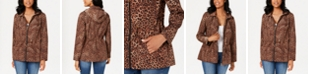 Charter Club Petite Leopard-Print Zipper-Print Jacket, Created for Macy's