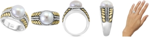 EFFY Collection EFFY® Cultured Freshwater Pearl (10mm) Two-Tone Statement Ring