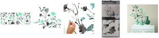 York Wallcoverings Blossom Watercolor Bird Branch Peel and Stick Wall Decals