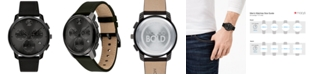 Movado Men's Swiss Chronograph Bold Black Leather Strap Watch 42mm
