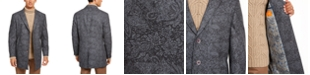 Tallia Orange Men's Slim-Fit Gray Floral Paisley Overcoat