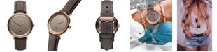MVMT Women's Signature II Ashen Taupe Leather Strap Watch 34mm